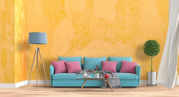 Intérieur du salon de style moderne avec canapé et décorations.