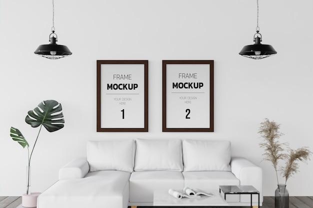 Intérieur de maison de maquette de rendu 3d avec des éléments de décor