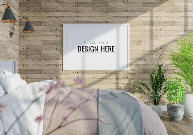 Intérieur de maquette de cadre d'affiche dans une chambre à coucher