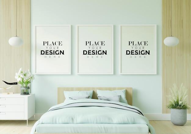 Intérieur de maquette de cadre d'affiche dans une chambre