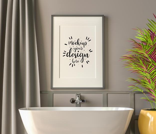 Intérieur de maquette de cadre d'affiche dans une salle de bain