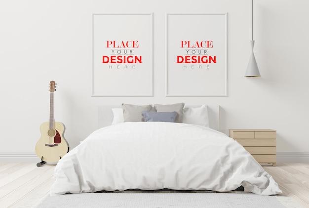 Intérieur de maquette de cadre en bois dans une chambre à coucher