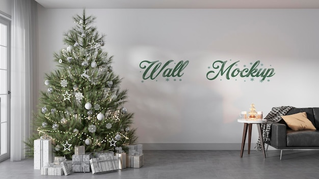 Intérieur de maquette de mur de noël nouvel an avec décorations de noël premium psd