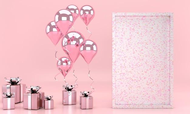 Intérieur de rendu 3d avec ballons, cadre d'affiche maquette, coffret cadeau dans la chambre. espace vide pour la fête, promotion des bannières de médias sociaux, affiches. carte de saint valentin
