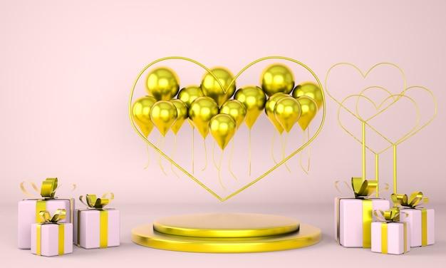 Intérieur de la saint-valentin avec piédestal et coeurs en rendu 3d
