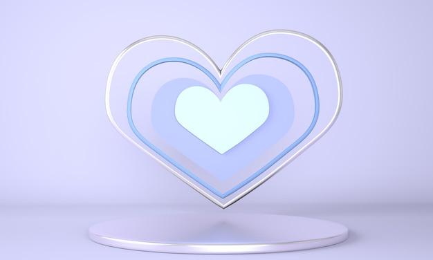 Intérieur de la saint-valentin avec piédestal et coeurs