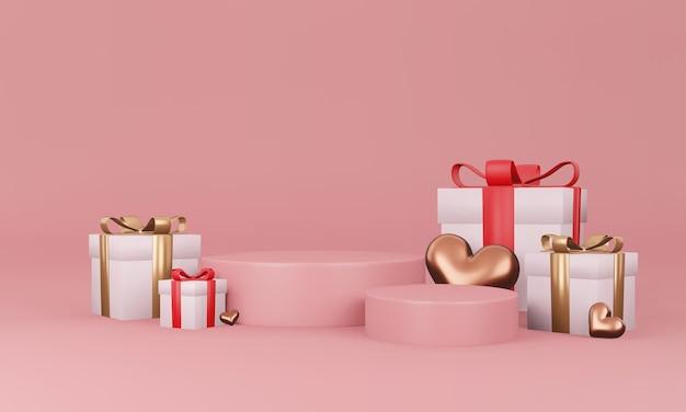 Intérieur de la saint-valentin avec plate-forme rose pastel, coeurs, support, podium, piédestal pour les marchandises