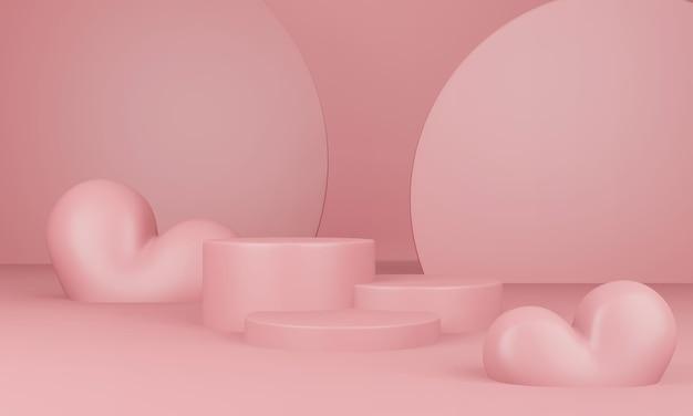 Intérieur de la saint-valentin avec plate-forme rose pastel en rendu 3d