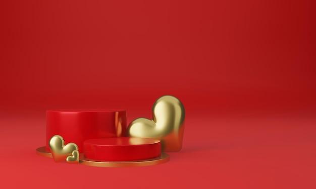 Intérieur de la saint-valentin avec plate-forme rouge, coeurs, support, podium, piédestal pour les marchandises