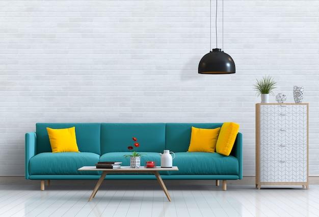 Intérieur de salon de style moderne avec canapé et décorations.