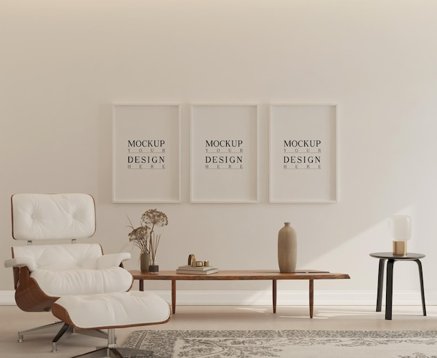 Intérieur simple avec affiche de maquette et chaise longue eames