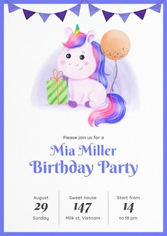 Invitation d'anniversaire de licorne aquarelle