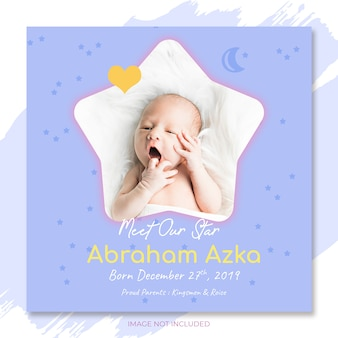 Invitation d'annonce de bébé au modèle de fête de douche de bébé