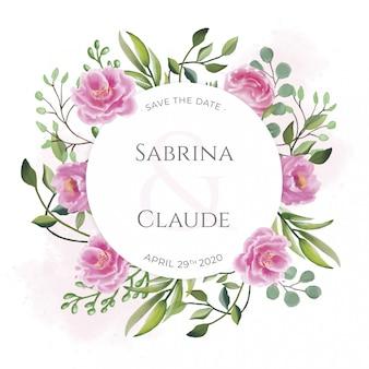 Invitation de mariage avec de belles fleurs à l'aquarelle