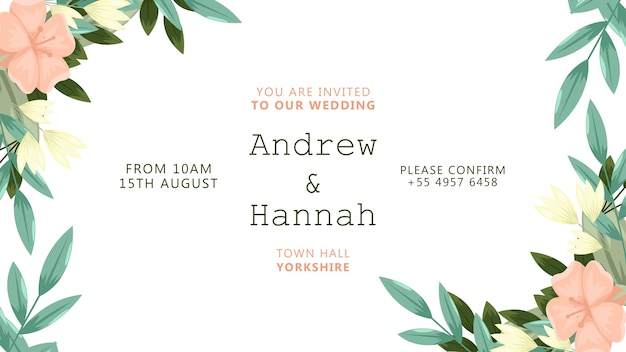 Invitation de mariage avec cadre de fleurs