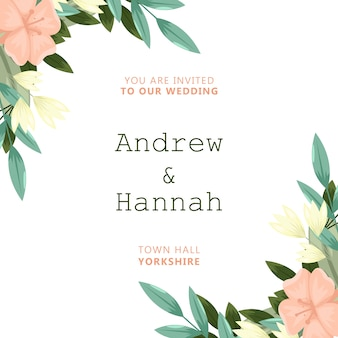 Invitation de mariage élégant avec des fleurs roses