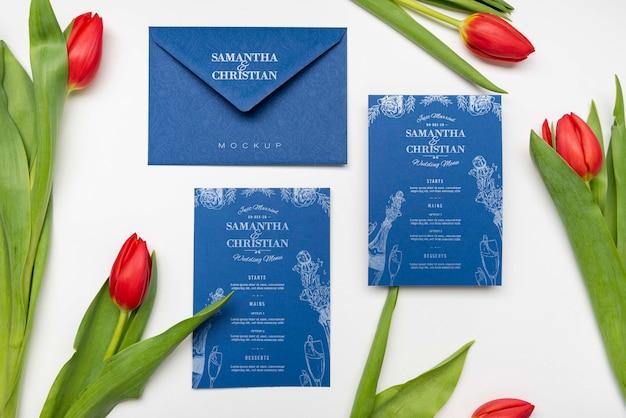 Invitation de mariage élégante avec des fleurs