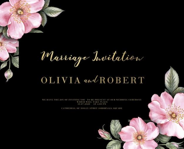 Invitation de mariage avec illustration botanique aquarelle.