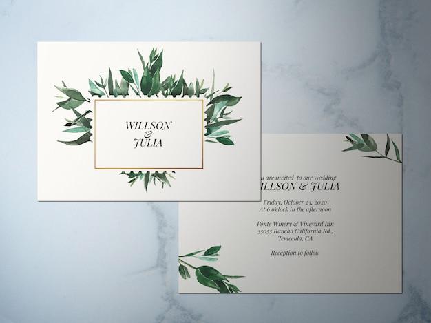 Invitation de mariage, invitation thème vert fleur à deux faces