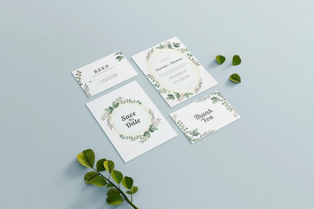 Invitation de mariage maquette papeterie carte vert minimaliste
