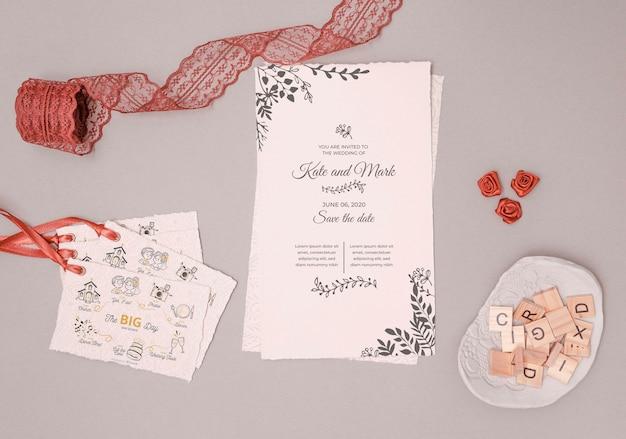 Invitation de mariage de papeterie
