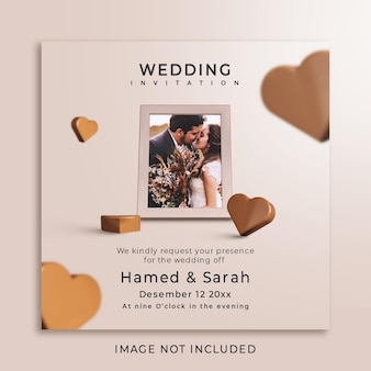 Invitations de mariage avec maquette de photos
