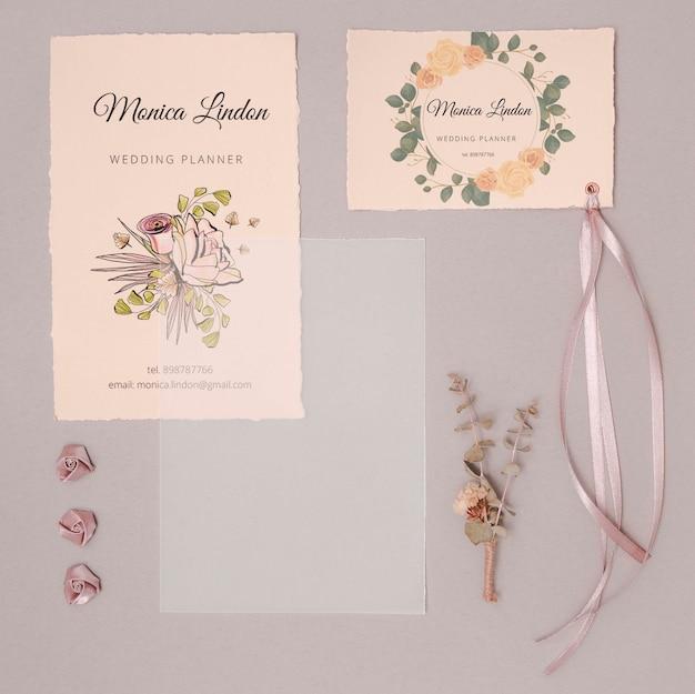 Invitations de mariage romantique avec ruban