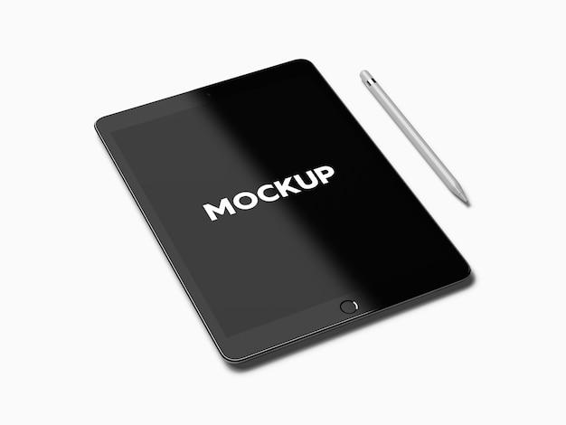 Ipad avec stylo sur fond blanc maquette de conception