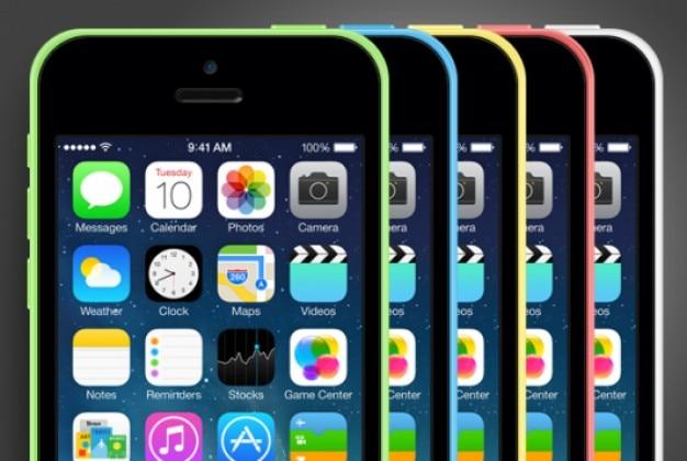 Iphone 5 maquette avec différents styles de couleurs