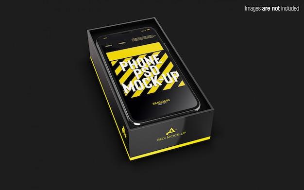 Iphone x psd maquette à l'intérieur de la boîte de téléphone