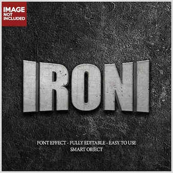 Iron texture 3d font effect