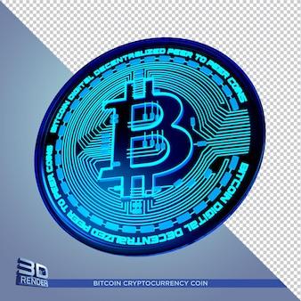Isolat de rendu 3d de crypto-monnaie bitcoin pièce néon noir