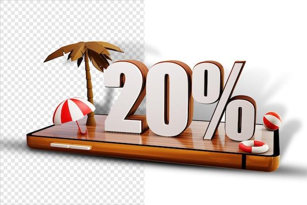 Isoler le design d'été de 20 pour cent sur smartphone