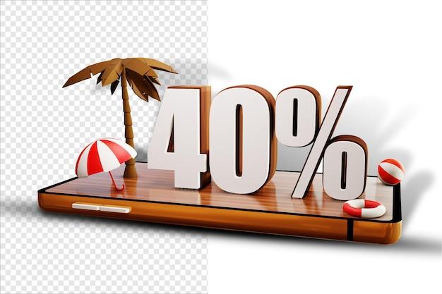 Isoler le design d'été à 40% sur un smartphone