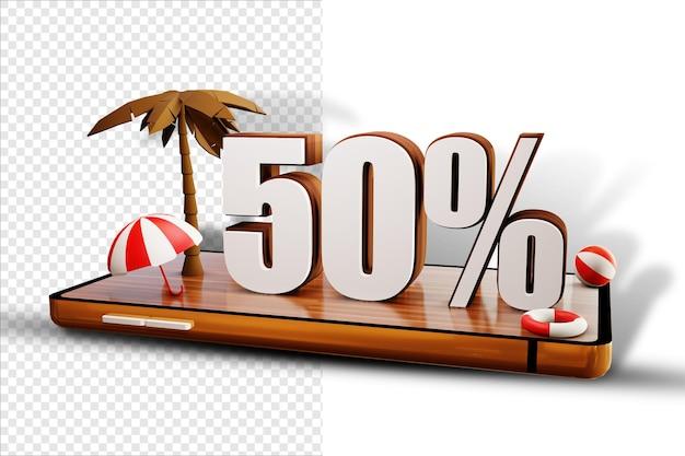 Isoler le design d'été à 50 pour cent sur smartphone