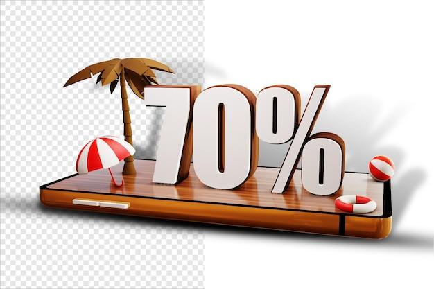 Isoler le design d'été à 70% sur un smartphone