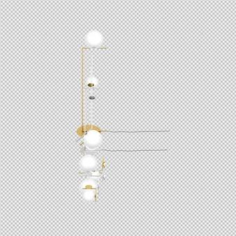 Isometric lamps 3d rendu isolé
