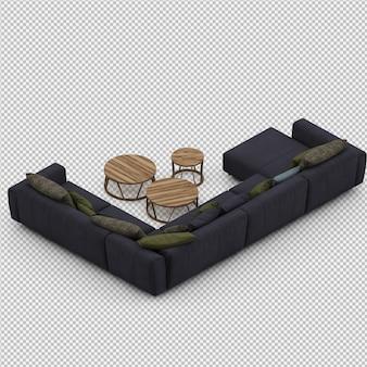 Isometric sofa 3d rendu isolé