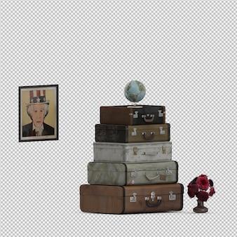 Isometric suitcases 3d rendu isolé
