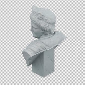 Isométrique statue 3d rendu isolé