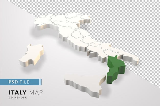 L'italie carte un rendu 3d isolé avec les régions italiennes de calabre