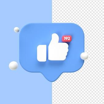 J'aime l'icône facebook 3d transparent