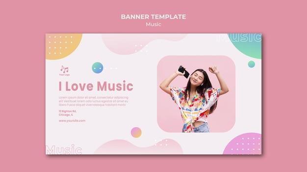 J'aime le modèle web de bannière de musique