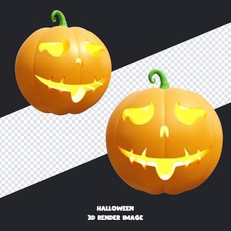 Jack o lantern citrouille d'halloween avec l'expression du visage illustration de rendu 3d