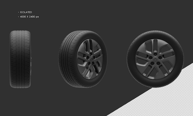 Jante et pneu de roue de chrome foncé de voiture de ville élégante de fourgon moderne d'isolement