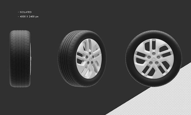 Jante et pneu de roue de chrome gris de voiture de ville élégante de fourgon moderne d'isolement