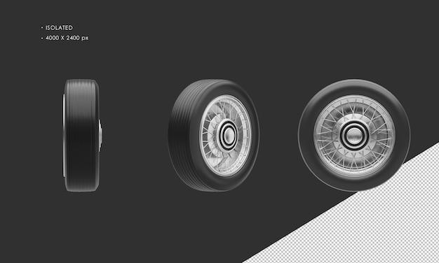 Jante et pneu de roue de voiture de berline classique d'isolement