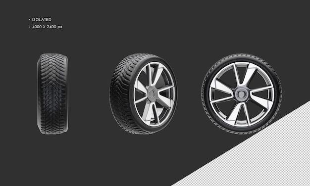 Jante et pneu de roue de voiture berline élégante isolée