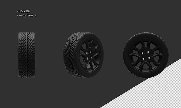 Jante et pneu de roue de voiture de chrome foncé de voiture de sport moderne d'isolement