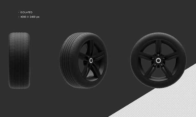 Jante et pneu de roue de voiture de chrome foncé de voiture de ville de sport élégante d'isolement